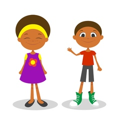happy young afro american boy and girl with vector image
