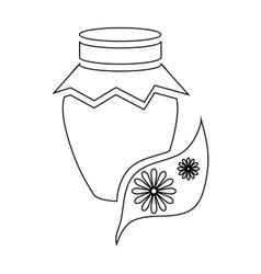 Honey jar pot icon outline style vector image vector image