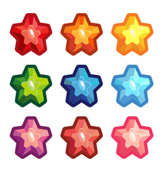 set of colored crystal stars vector image vector image