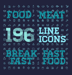 196 food and drink thin icon set vector