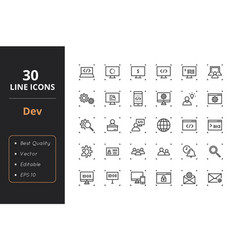 30 development line icons vector image