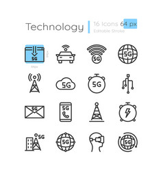 5g wireless technology linear icons set vector image
