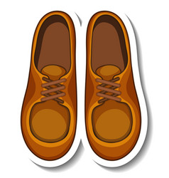 A sticker template with mens shoes isolated vector