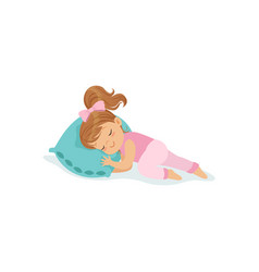 Adorable little girl sleeping on her bed cartoon vector