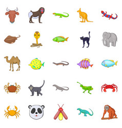 Animals of the jungle icons set cartoon style vector