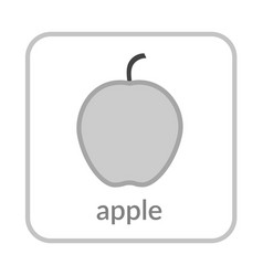 apple icon gray outline flat sign isolated white vector image