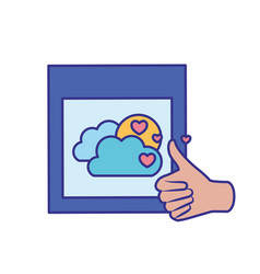 Approval hands with picture isolated icon vector