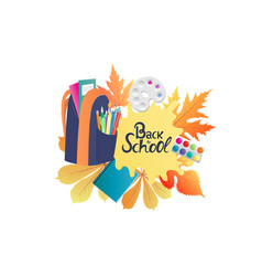 back to school banner backpack with notebooks vector image