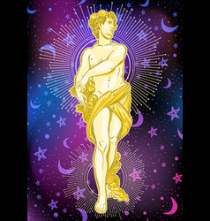 beautiful greek god on space background the vector image