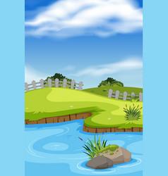Beautiful outdoor pond scene vector