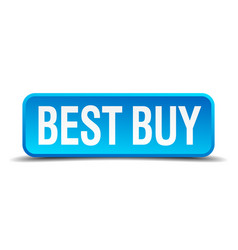 best buy blue 3d realistic square isolated button vector image