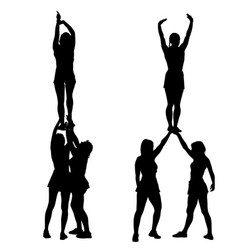 Black silhouette acrobats show stand on hand vector