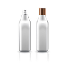 Blank clear cosmetic square bottle with screw lid vector