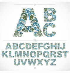 blue floral font hand-drawn capital alphabet vector image
