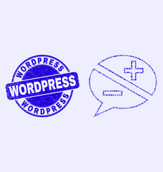 Blue scratched wordpress seal and discussion vector
