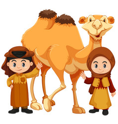 Boy and girl standing with camel vector