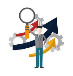 Businessman with magnifying glass isolated icon vector