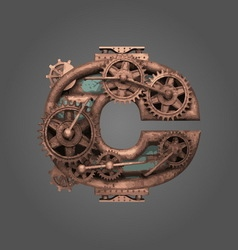 C rusted letter with gears vector