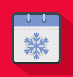 calendar winter icon flat style vector image