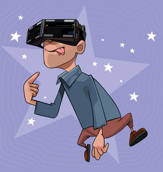 Cartoon funny man with glasses virtual reality vector