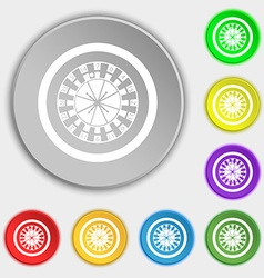 Casino roulette wheel icon sign Symbol on eight vector