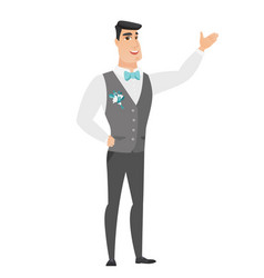 Caucasian groom showing a direction vector