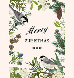 Christmas card with two birds vector