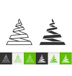 christmas tree simple black line icon vector image
