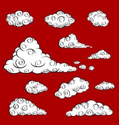 cloud oriental a set of white cloud in oriental vector image