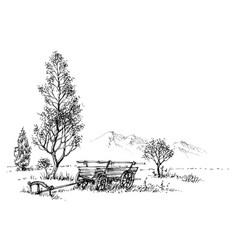 Countryside artistic drawing rural nature vector