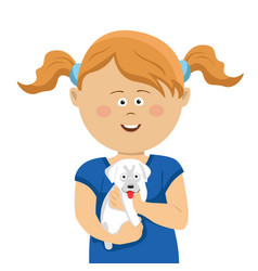 cute little girl with pigtails holding white puppy vector image