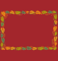 decorative frame of autumn leaves on red vector image