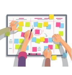 Developers team planning weekly schedule tasks vector