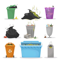 Different garbage containers flat vector