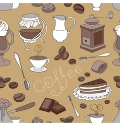 Doodle pattern coffee vector
