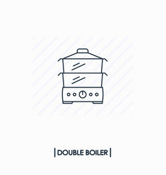 double boiler outline icon isolated vector image