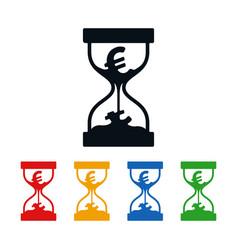 euro symbol in hourglass vector image