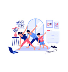 family workout home sport activities with kids vector image