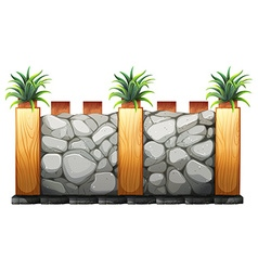 Fence made from stones and wood vector