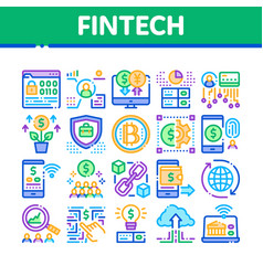 Fintech innovation collection icons set vector
