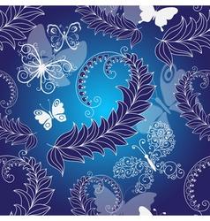Floral dark blue seamless spring pattern vector