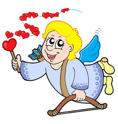 flying cupid with magic wand vector image