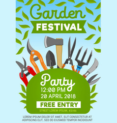 Garden festival party and gardening tools vector