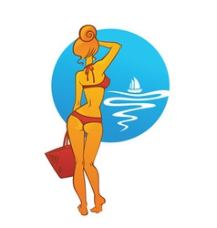 Girl in bikini vector