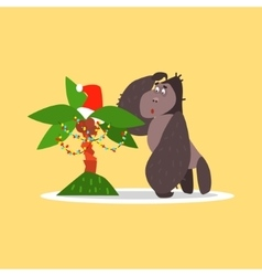 Gorilla and christmas palm tree vector