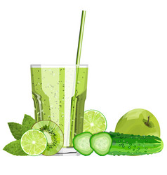 Green blended smoothie in a glass with ingredients vector