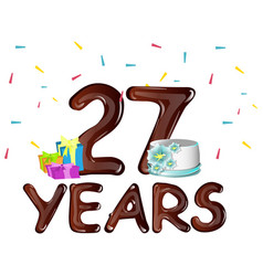 happy birthday twenty seven year vector image