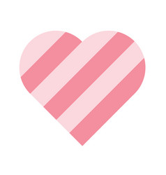 heart of pink stripes 3d effect symbol of love vector image