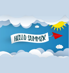 hello summer paper art background blue sky and vector image