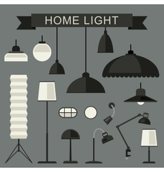 Home lamps icons vector image
